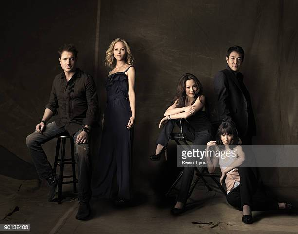 The cast of The Mummy Tomb of the Dragon Emperor actors Brendan Fraser Maria Bello Michelle Yeoh Jet Li and Isabella Leong pose for at portrait...