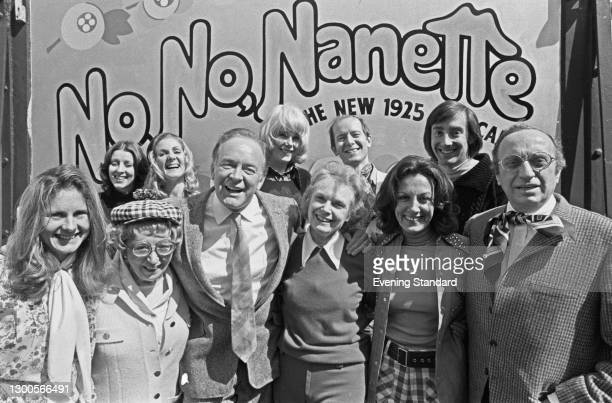 The cast of the musical 'No, No, Nanette' at the Theatre Royal Drury Lane in London, UK, 12th April 1973. From left to right , actors Susan Maudslay,...