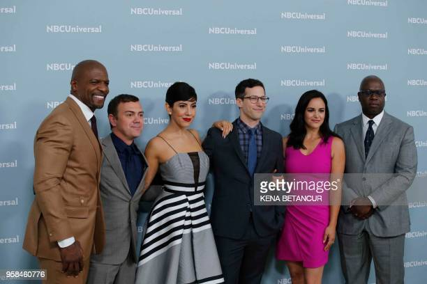 The cast of the NBC series 'Brooklyn NineNine' attend the Unequaled NBCUniversal Upfront campaign at Radio City Music Hall on May 14 2018 in New York
