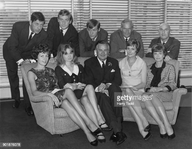 The cast of the new BBC1 soap opera '199 Park Lane' 12th July 1965 From left to right Edwin Richfield Philip Bond Leonard Cracknell Geoffrey Toone...