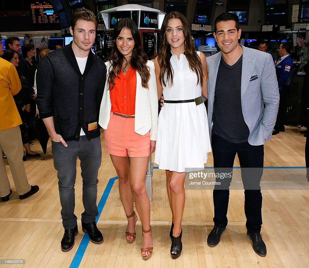The Cast Of The New Series 'Dallas', actors Josh Henderson, Jordana Brewster, Julie Gonzalo and Jesse Metcalfe Visit The New York Stock Exchange at New York Stock Exchange on June 12, 2012 in New York City.