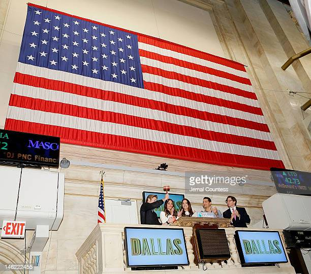 The Cast Of The New Series Dallas actors Josh Henderson Jordana Brewster Julie Gonzalo and Jesse Metcalfe with Vice President at NYSE Euronext Gregg...
