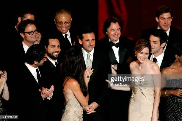 """The cast of """"The Office"""" accepts the award for Outstanding Comedy Series onstage at the 58th Annual Primetime Emmy Awards at the Shrine Auditorium on..."""