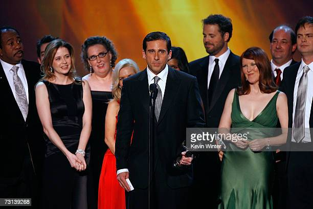 """The cast of """"The Office"""" accepts the Outstanding Ensemble in a Comedy Series onstage at the 13th Annual Screen Actor Guild Awards held at the Shrine..."""