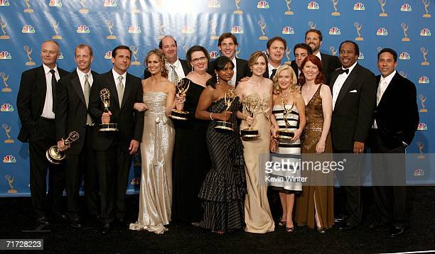 """The cast of """"The Office"""" poses in the press room after winning """"Outstanding Comedy Series"""" at the 58th Annual Primetime Emmy Awards at the Shrine..."""