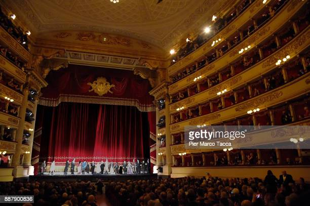 The cast of the opera Andrea Chénier by Umberto Giordano during the final applauses during the Prima Alla Scala at Teatro Alla Scala on December 7...