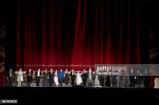 The cast of the opera 'Andrea Chénier' by Umberto Giordano during the final applauses during the Prima Alla Scala at Teatro Alla Scala on December 7...