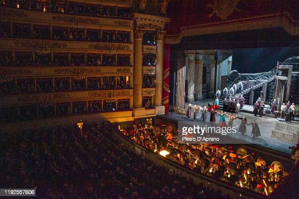 """The cast of the opera """"La Tosca"""" during the final applauses the """"Prima Alla Scala"""" at Teatro Alla Scala on December 07, 2019 in Milan, Italy."""
