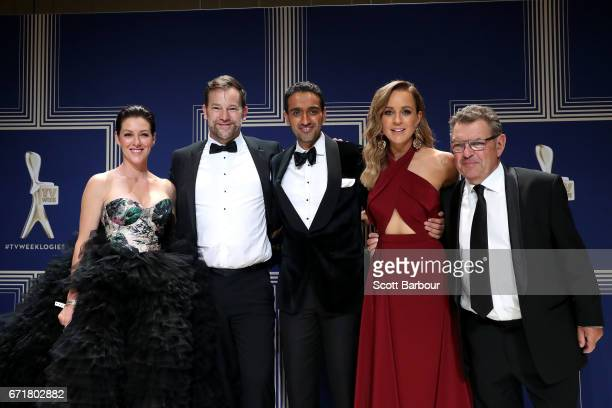 The cast of The Project pose with the Logie Award for Best News Panel or Current Affairs Program during the 59th Annual Logie Awards at Crown...