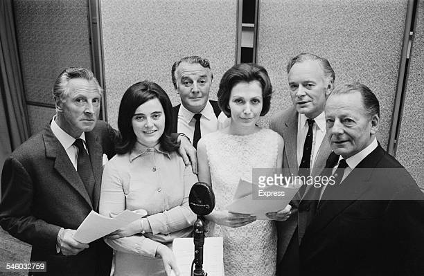The cast of the radio adaptation of John Galsworthy's novels 'The Forsyte Saga' LR English actors Alan Wheatley Patricia Gallimore Noel Johnson...
