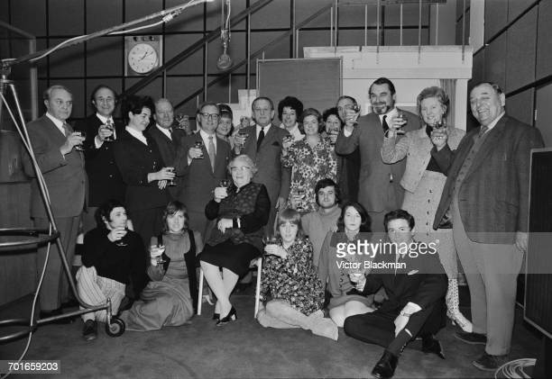 The cast of the radio show 'The Archers' celebrate 21 years on the air UK 30th November 1971 The lineup includes cast members Chris Gittins Leslie...