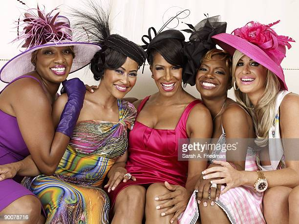 The cast of The Real Housewives of Atlanta. NeNe Leakes, Lisa Wu Hartwell, Sheree Whitfield,Kandi Burruss and Kim Zolciak at a portrait session in...