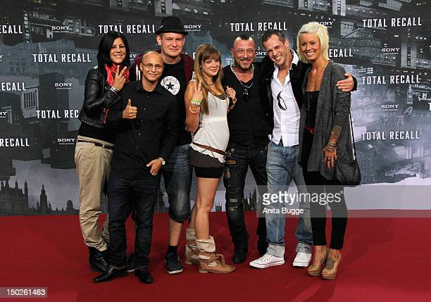 The cast of the RTL 2 series 'Berlin Tag und Nacht' attends the 'Total Recall' Berlin premiere at Sony Center on August 13, 2012 in Berlin, Germany.
