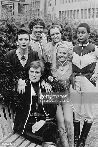 The cast of the science fiction television series Blake's 7 posed together during a press reception in London on 11th May 1981 Clockwise from left...