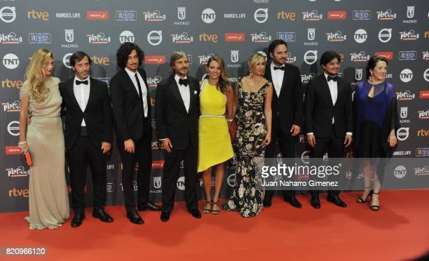 The cast of the series 'Narcos' attends the 'Platino Awards 2017' photocall at La Caja Magica on July 22 2017 in Madrid Spain