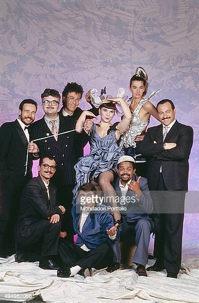 The cast of the show 'L'araba Fenice' broadcasted by Italiauno in a photo shooting above from the right Eraldo Turra Eva Robin's Syusy BladyStefano...