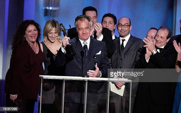 The cast of The Sopranos accepts their award for Outstanding Performance by an Ensemble in a Drama Series during the 14th annual Screen Actors Guild...