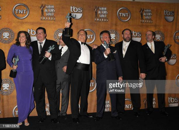 The cast of 'The Sopranos' in the press room at the 14th Annual Screen Actors Guild Awards at the Shrine Auditorium on January 27 2008 in Los Angeles...