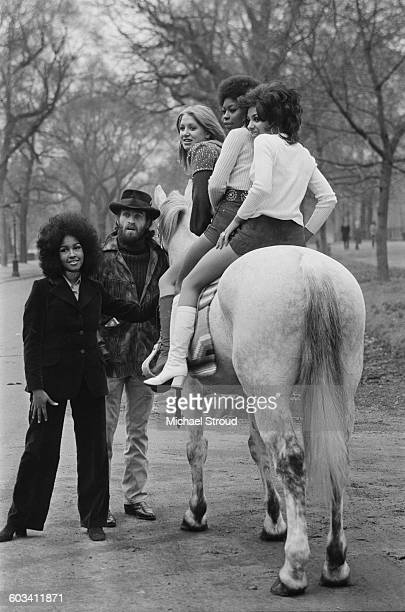 The cast of the stage musical 'Catch My Soul' pose for a photocall in Hyde Park London 16th February 1971 From left to right actors Marsha Hunt Lance...