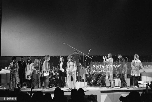 The cast of the stage version of the Who's rock opera 'Tommy' at the Rainbow Theatre London 9th December 1972 Merry Clayton Richie Havens Peter...