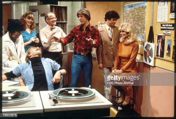 The cast of the television comedy 'WKRP in Cincinnati' share a laugh in the studio in a still from an unidentified episode Los Angeles Calfornia 1980...