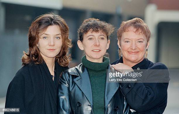 The cast of the television series 'A Mug's Game' pose for a photocall UK 17th January 1996 From left to right actresses Michelle Fairley Katy Murphy...