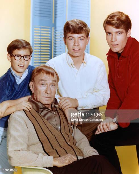 The cast of the television series 'My Three Sons' circa 1965 From left to right Barry Livingston Stanley Livingston and Don Grady with William...