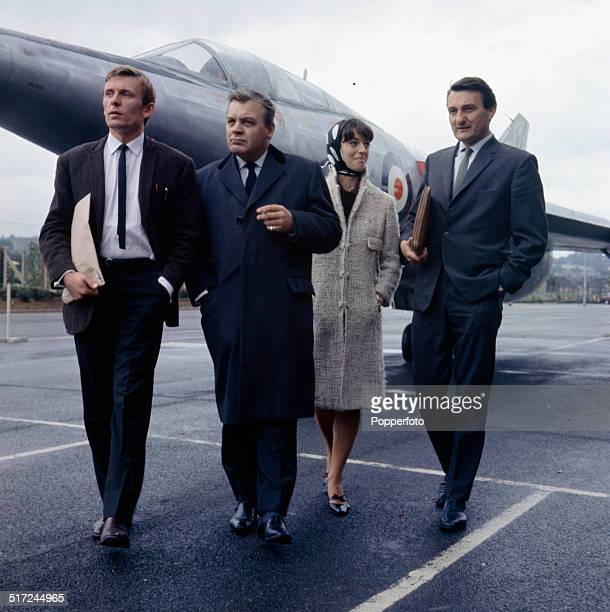 The cast of the television series 'The Plane Makers' pictured in front of the experimental aircraft, Scott-Furlong Predator in 1964. From left to...