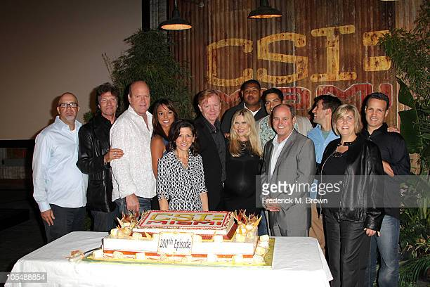 The cast of the television show CSI Miami celebrates the show's 200th episode on October 15 2010 in Manhattan Beach California