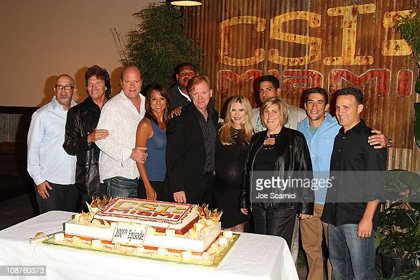 The Cast of the television show CSI Miami celebrates the show's 200th Episode at Raleigh Manhattan Studios on October 15 2010 in Manhattan Beach...