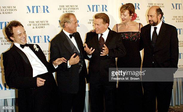"""The cast of the television show """"The West Wing"""" Bradley Whitford, John Spencer, Martin Sheen, Allison Janney and Richard Schiff attend the Museum of..."""