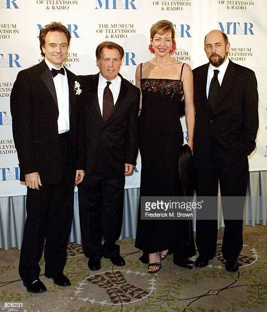 """The cast of the television show """"The West Wing"""" Bradley Whitford, Martin Sheen, Allison Janney and Richard Schiff attend the Museum of Television &..."""