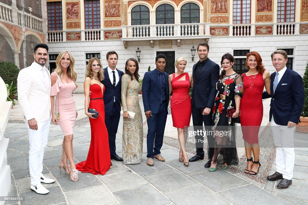 The Cast of the 'The Bold and The Beautiful' Don Diamont and wife Cindy Ambuehl, Kelly Kruger, Darin Brooks, Reign Edwards ,Rome Flynn, Katherine Kelly Lang;Pierson Fode Heather Tom, Courtney Hope and Bradley Bell attend the cocktail party of the 57th Monte Carlo TV Festival at the Monaco Palace on June 18, 2017 in Monte-Carlo, Monaco.