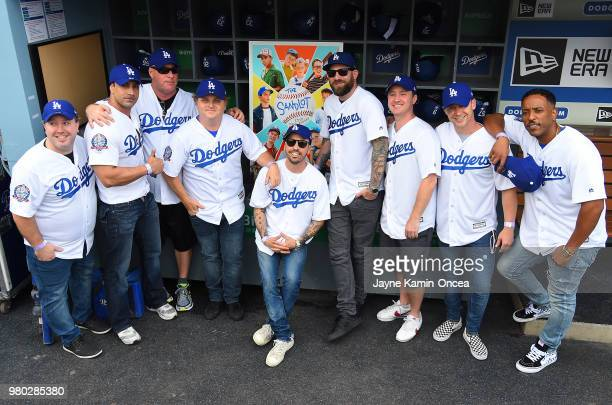 The cast of the 'The Sandlot' celebrate the movie's 25th anniversary with a special reunion before the game between the Los Angeles Dodgers and the...