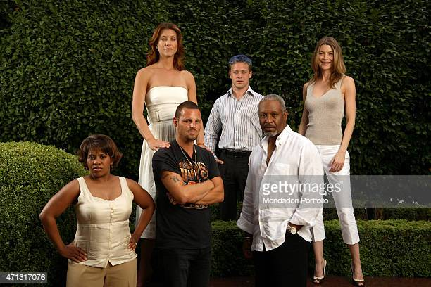 The cast of the TV series Grey's Anatomy posing for a photo shooting in the garden of the Hotel Principe di Savoia Milan Italy 6th July 2006