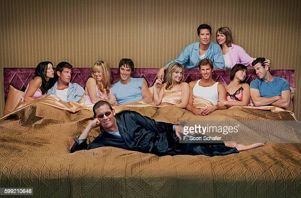 The cast of the TV show The Bachelor are photographed for People Magazine in 2004 From left to right Estella Gardinier Jesse Palmer Trista Rehn Ryan...