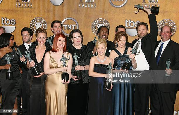 """The cast of the TV show """"The Office"""" poses in the press room during the 14th annual Screen Actors Guild awards held at the Shrine Auditorium on..."""