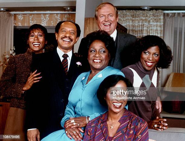 The cast of the TV sitcom 'The Jeffersons' circa 1977 in Los Angeles, California.
