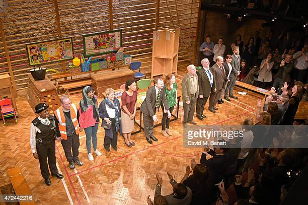 The cast of The Vote bow at the curtain call during the opening of The Donmar Warehouse's production of The Vote on election night at the Donmar...
