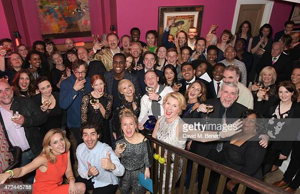The cast of The Vote celebrate following the live broadcast of The Donmar Warehouse's production of The Vote at the Ham Yard Hotel generously...
