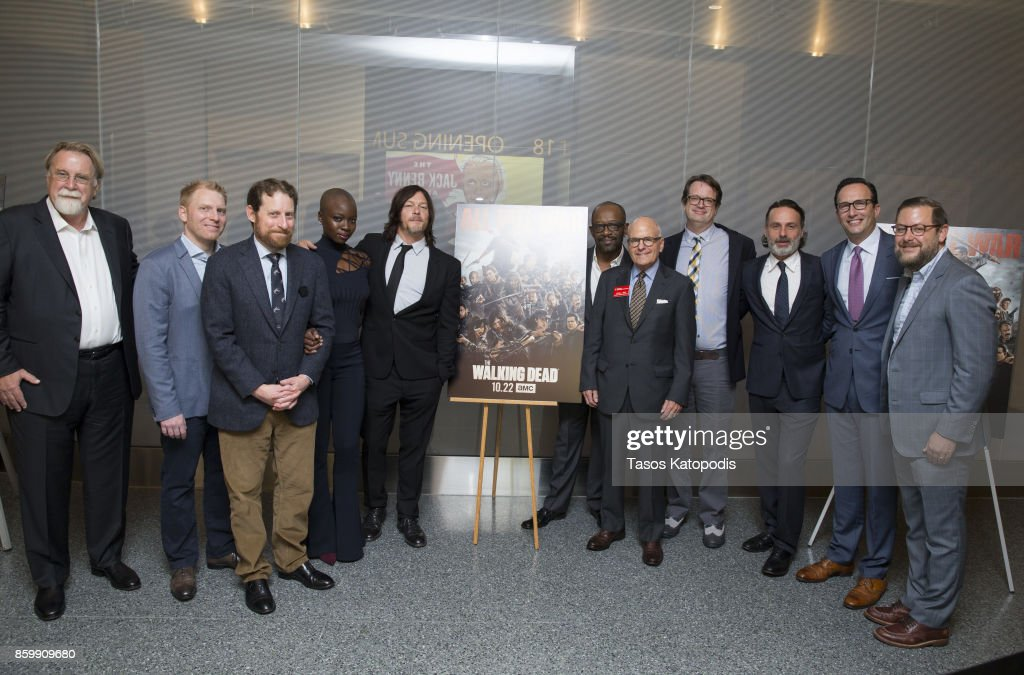 The cast of 'The Walking Dead,' including (3L, L-R) Scott M. Gimple, Danai Gurira, Norman Reedus, Lennie James and Andrew Lincoln (3R), attend 'The Walking Dead' event at the Smithsonian National Museum Of American History on October 10, 2017 in Washington, DC.