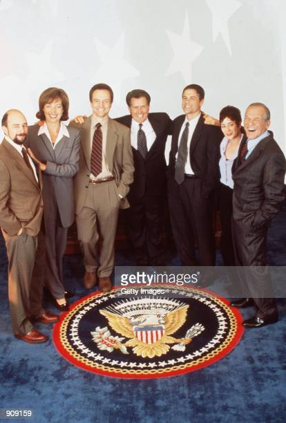 """The cast of """"The West Wing."""" From l-r: Richard Schiff , Allison Janney , Bradley Whitford , Martin Sheen , Rob Lowe , Moira Kelly and John Spencer ...."""