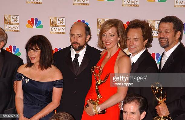 The cast of 'The West Wing' press room after recveiving their award Outstanding Drama Series at the 54th Annual Prime Time Emmys