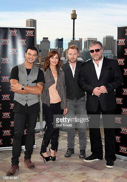 The cast of 'The X Factor' Guy SebastianNatalie Imbruglia Ronan Keating and Kyle Sandilands pose during a media call on July 30 2010 in Sydney...