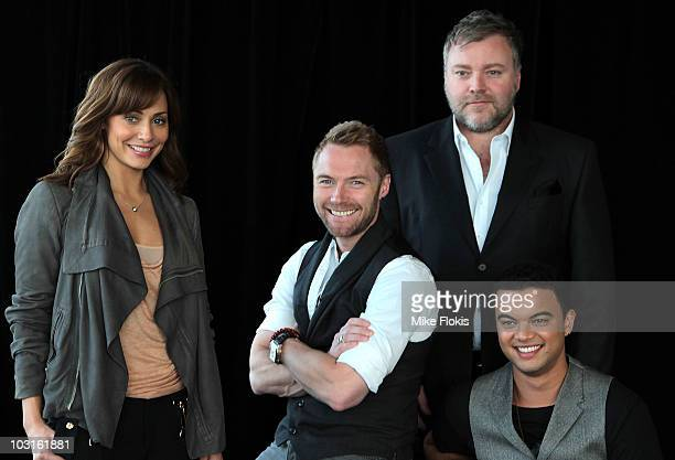 The cast of 'The X Factor' Natalie Imbruglia Ronan Keating Kyle Sandilands and Guy Sebastian pose during a media call on July 30 2010 in Sydney...