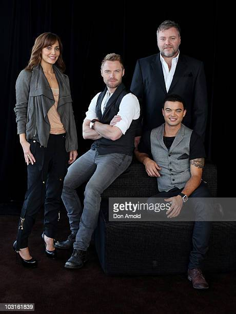 The cast of 'The X Factor' Natalie Imbruglia Ronan KeatingKyle Sandilands and Guy Sebastian pose during a media call on July 30 2010 in Sydney...
