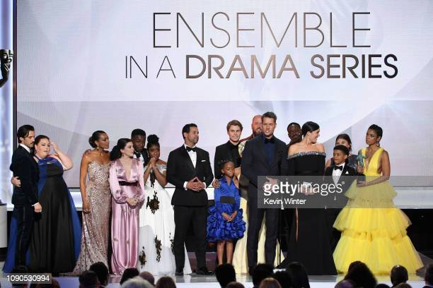 "The cast of ""This Is Us"" accepts Outstanding Performance by an Ensemble in a Drama Series onstage during the 25th Annual Screen Actors Guild Awards..."