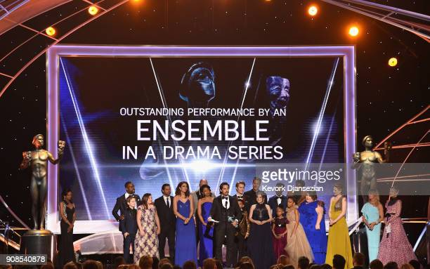 The cast of 'This Is Us' onstage during the 24th Annual Screen Actors Guild Awards at The Shrine Auditorium on January 21 2018 in Los Angeles...
