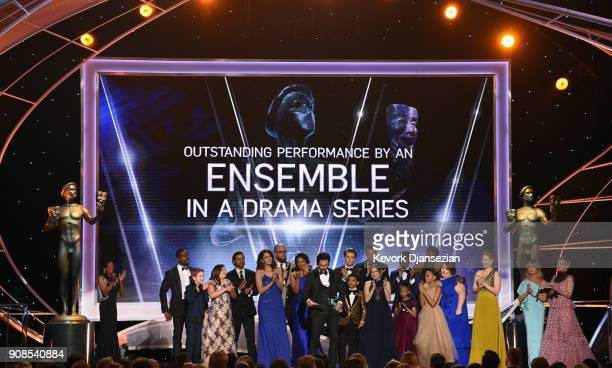 The cast of 'This Is Us' onstage during the 24th Annual Screen ActorsGuild Awards at The Shrine Auditorium on January 21 2018 in Los Angeles...