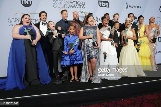 The cast of 'This Is Us' winners of Outstanding Performance by an Ensemble in a Drama Series pose in the press room at the 25th annual Screen...